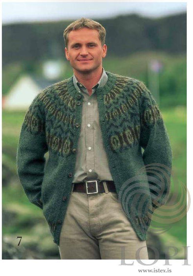 Augað (The eye) Mens Wool Cardigan - Álafoss - Since 1896