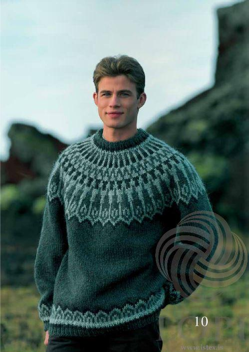 Dropar (Drops) Mens Wool Sweater Green - Álafoss - Since 1896