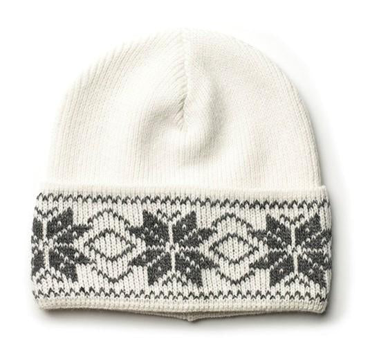 Rose Pattern Wool Hat White/Grey