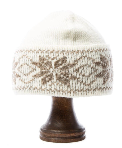 Rose Pattern Wool Hat White/Brown