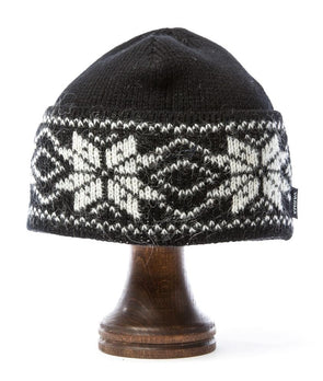 Rose Pattern Wool Hat Black