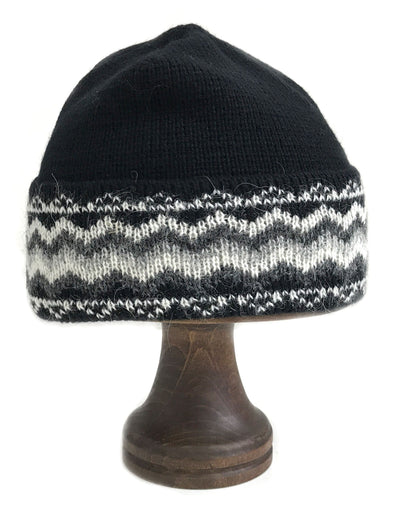 Pattern Wool Hat Black