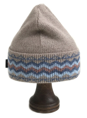 Pattern Wool Hat Beige