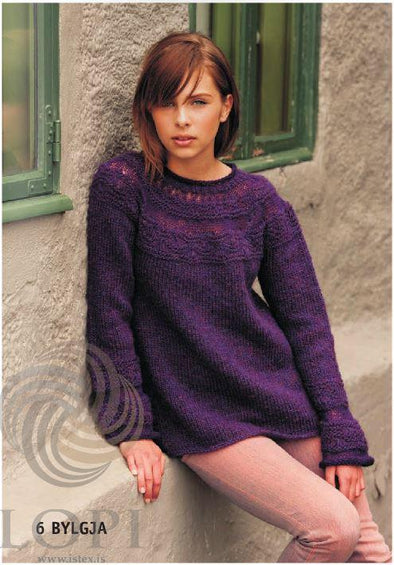 Bylgja (Billow) Women Wool Sweater Purple - Álafoss - Since 1896
