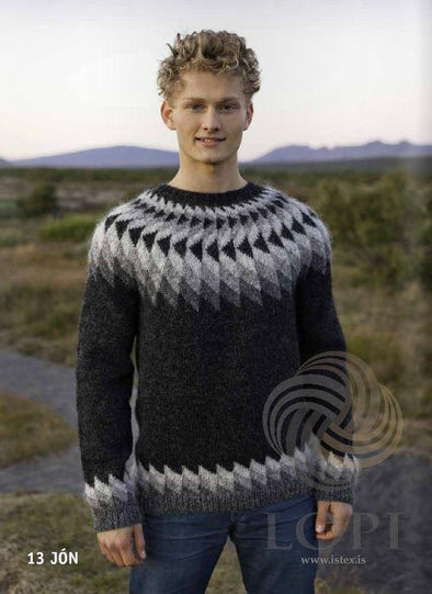 Jón (John) Mens Wool Sweater Black Heather - Álafoss - Since 1896