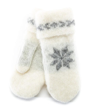 Brushed Wool Mittens White