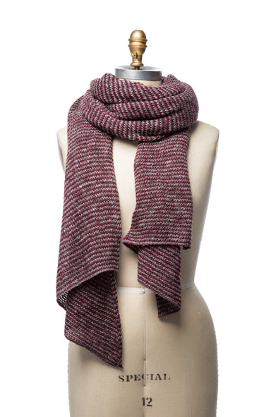 Iceland Wool Scarf Grey/Burgundy
