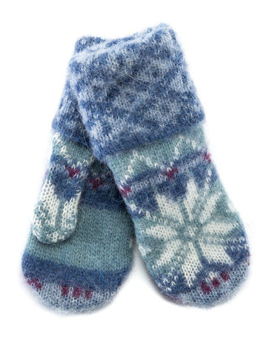 Brushed Norwegian Wool Mittens Light Blue.