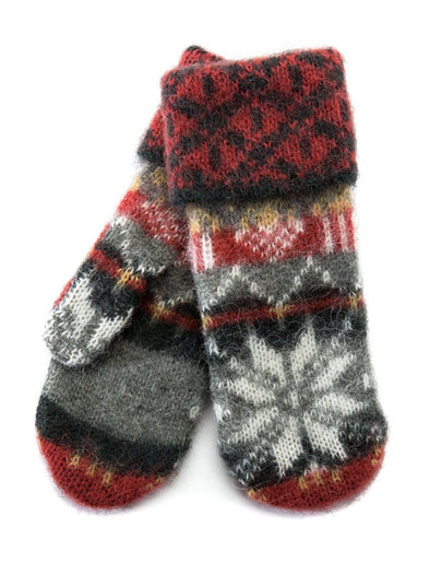 Brushed Norwegian Wool Mittens Green