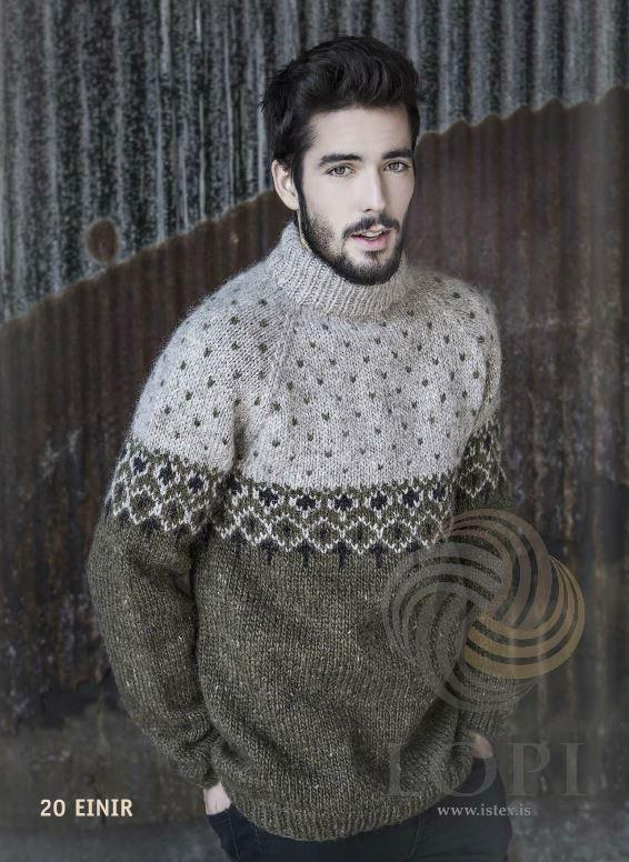 Einir Mens Wool Sweater Green - Álafoss - Since 1896