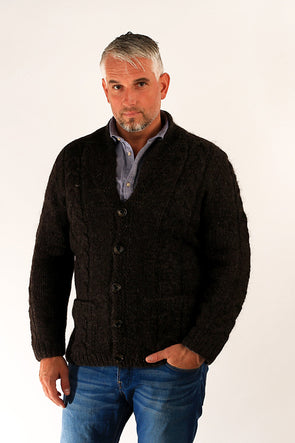 Bjarni Wool Cardigan Brown - Álafoss - Since 1896