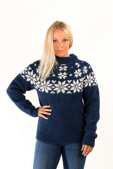 Fönn Wool Sweater Blue - Álafoss - Since 1896