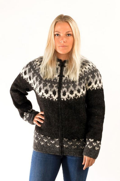 Skipper Wool Cardigan Black - Álafoss - Since 1896
