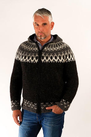 Skipper Wool Cardigan w/Hood Black - Álafoss - Since 1896