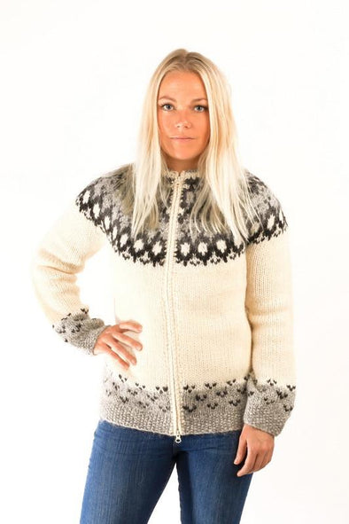 Skipper Wool Cardigan White - Álafoss - Since 1896
