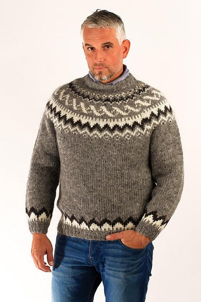 - Icelandic Traditional Wool Pullover Grey - Wool Sweaters - Nordic Store Icelandic Wool Sweaters  - 1