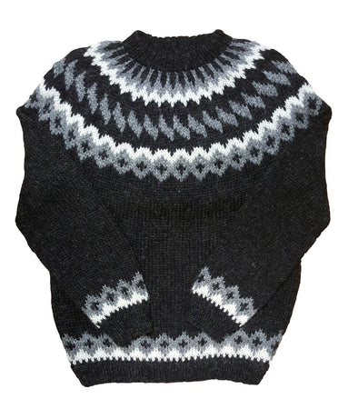 Wool Sweater pullover - Black Heather - White/Grey Pattern - Álafoss - Since 1896