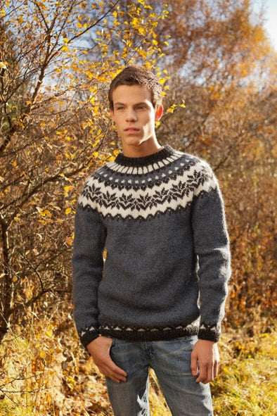 Kit: 20-year Anniversary Sweater Pattern Kit - Blue Adult Sweater - Álafoss - Since 1896