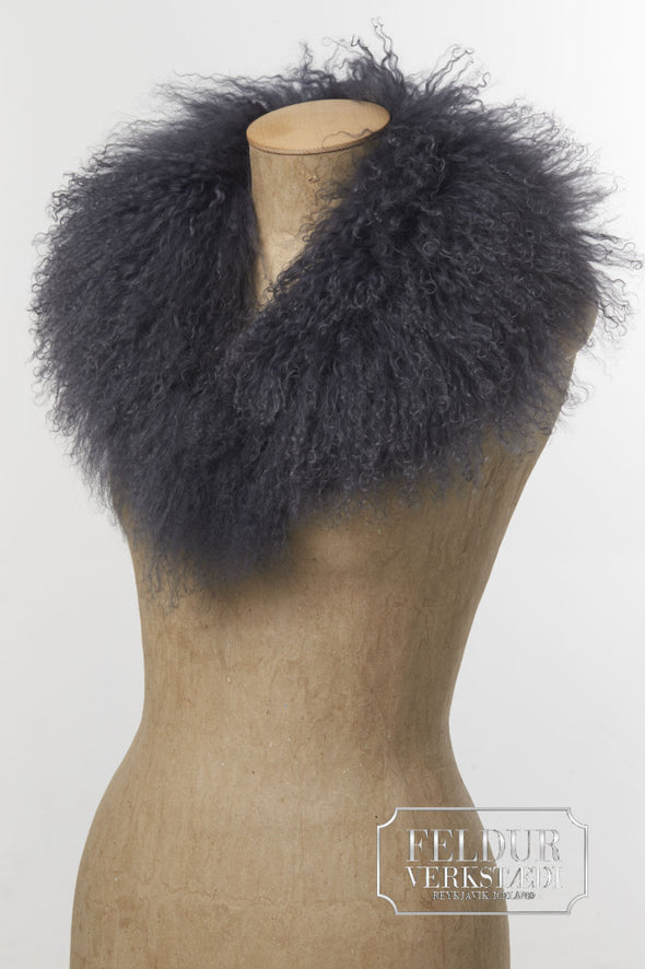 Dimma - Blue Grey Tibetan Lamb Collar - Álafoss - Since 1896