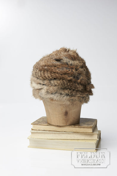 Logn Knitted Rabbit Hat - Natural Brown