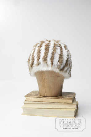 Logn Knitted Rabbit Hat w Stripes - White and natural brown