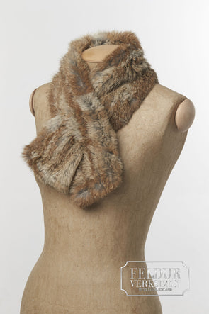Lygna Knitted Rabbit Scarf - Short - Natural Brown - Álafoss - Since 1896