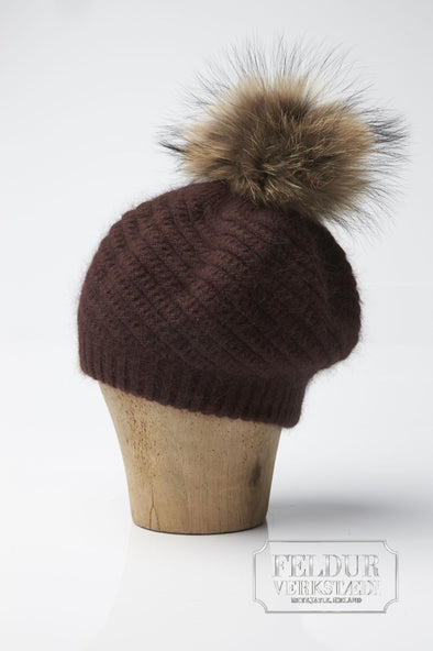 Ylur Knitted Angora Hat w Wolf Pom Pom - Chocolate Brown