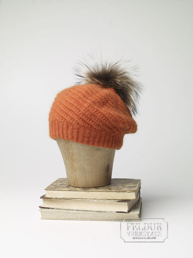 Ylur Knitted Angora Hat w Wolf Pom Pom - Orange - Álafoss - Since 1896