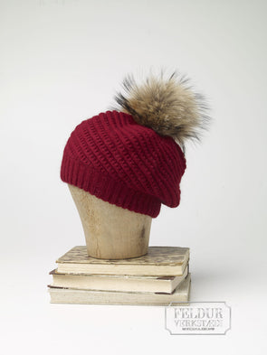 Ylur Knitted Angora Hat w Wolf Pom Pom - Red