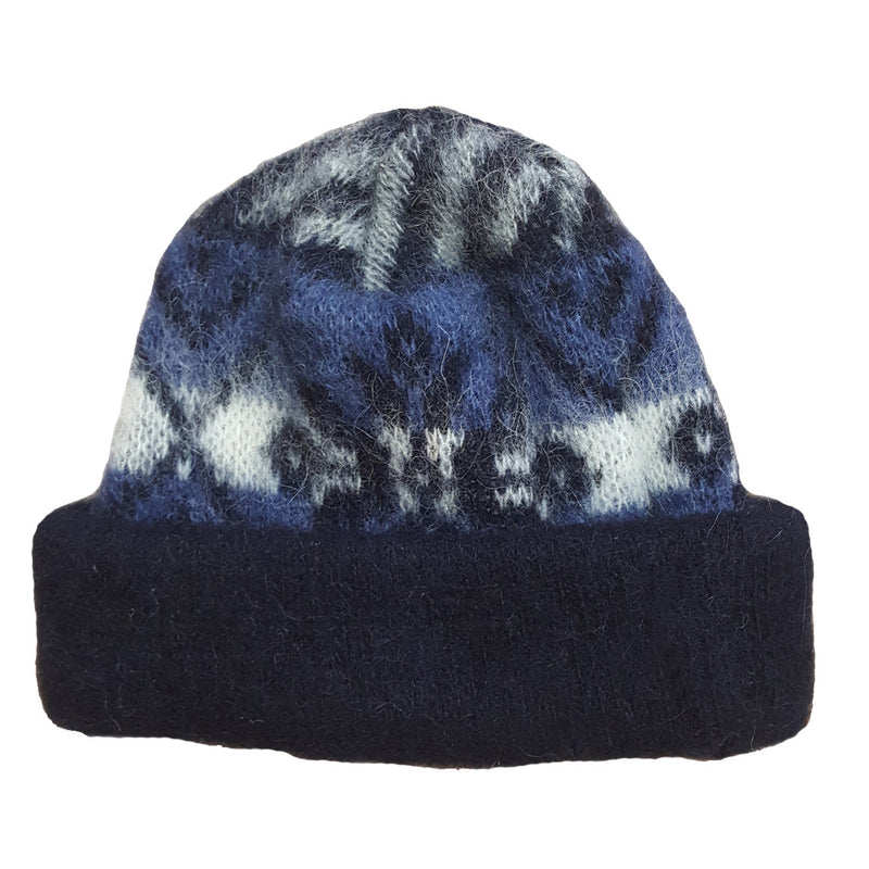 Wool hat - Blue with Pattern