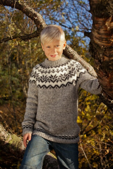 Kit: 20-year Anniversary Sweater Pattern Kit - Grey Children Sweater - Álafoss - Since 1896