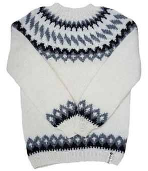 Wool Sweater pullover - White with Black and Grey - Álafoss - Since 1896