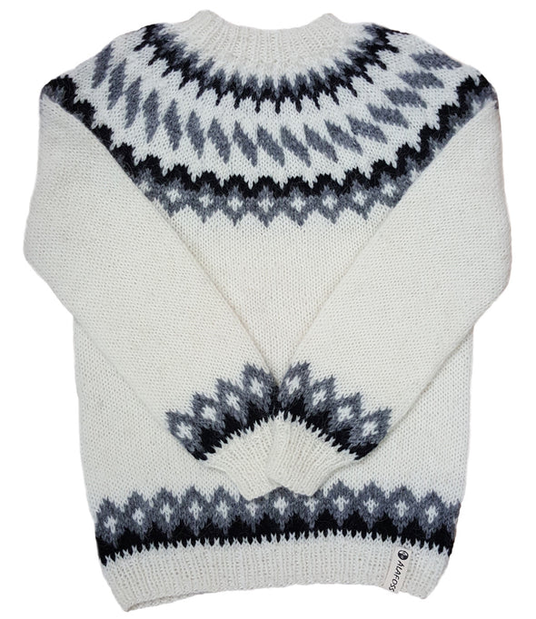 Wool Sweater pullover - White with Black and Grey