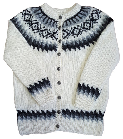 White Wool Sweater with Buttons - Grey / Black Pattern - Álafoss - Since 1896