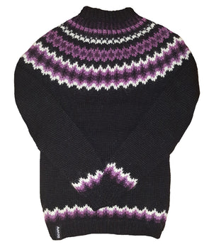Wool Sweater pullover - Black with white and purple - Álafoss - Since 1896