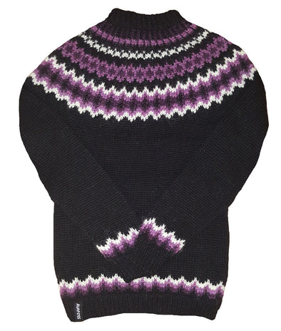 Wool Sweater pullover - Black with white and purple