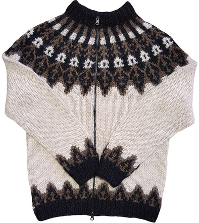 Wool Sweater w. zipper - brown - Álafoss - Since 1896