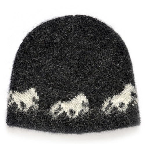 Kidka wool hat - Icelandic horse - Black