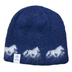 Kidka wool hat - Icelandic horse - Blue