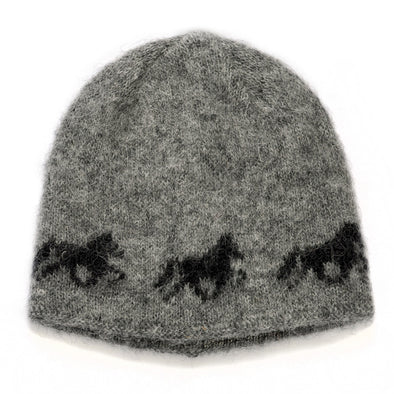 Kidka wool hat - Icelandic horse - Grey