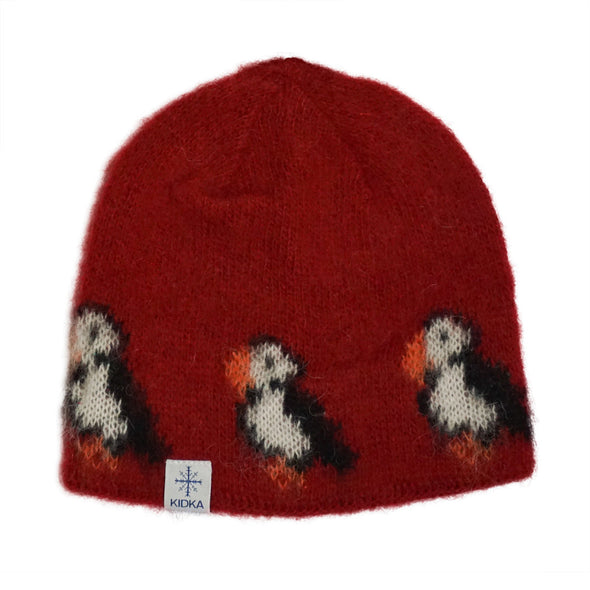 Kidka wool hat - Puffin - Red