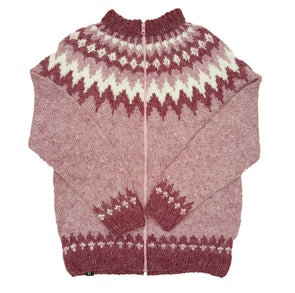 Pink Wool Sweater with zipper - White Pattern