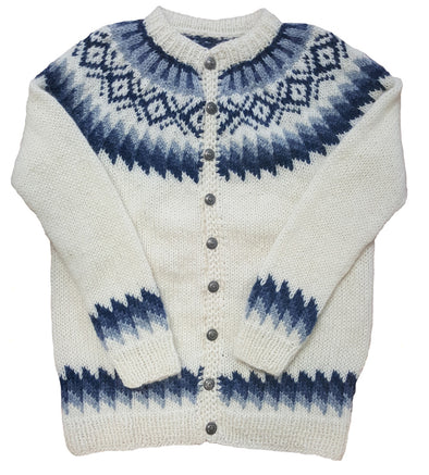 White Wool Sweater with Buttons - Blue Pattern - Álafoss - Since 1896