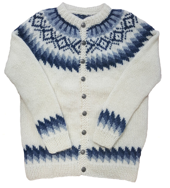 White Wool Sweater with Buttons - Blue Pattern