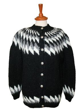 Wool Sweater w. buttons - black - Álafoss - Since 1896
