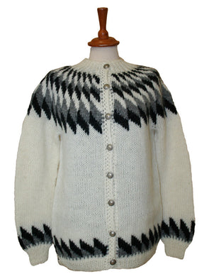 Wool Sweater w. buttons - white