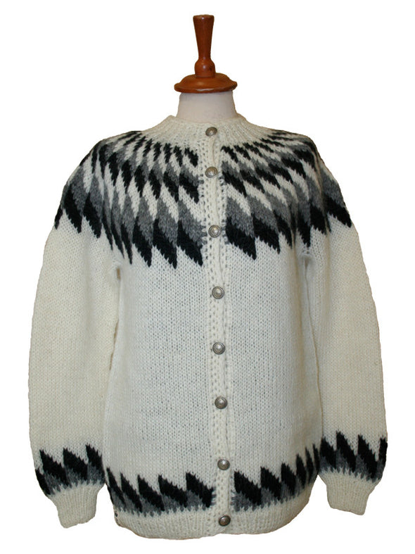 Wool Sweater w. buttons - white - Álafoss - Since 1896