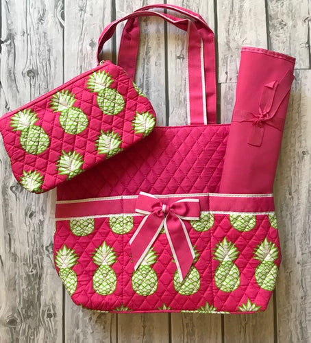 Pink Pineapple Diaper Bag