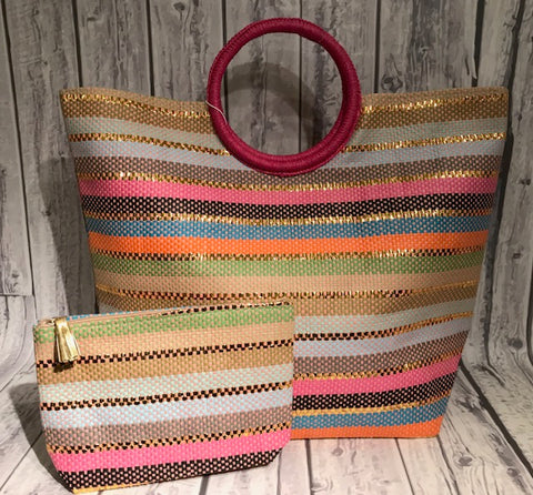 Monogrammed Multi Stripe Tote Bag Set