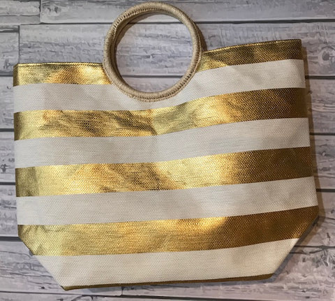 Monogrammed Bold Gold Stripe Tote